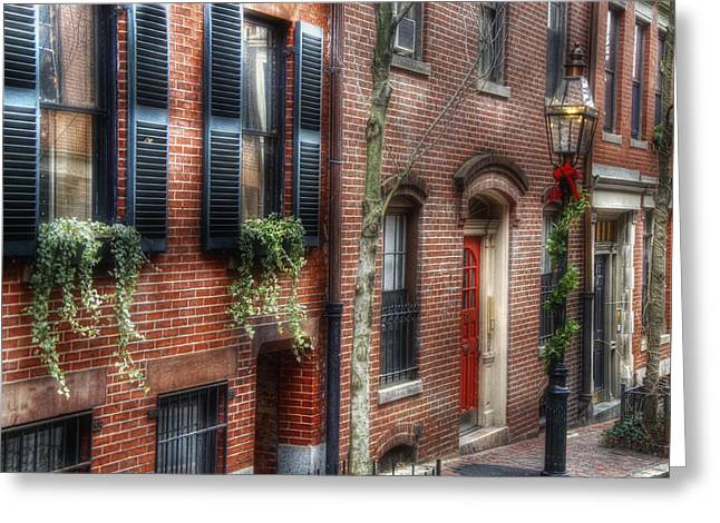 Colonial Scene Greeting Cards - Beacon Hill Winter Dressings Greeting Card by Joann Vitali