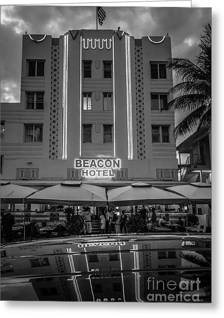 Beacon Hotel Art Deco District Sobe Miami - Black And White Greeting Card by Ian Monk