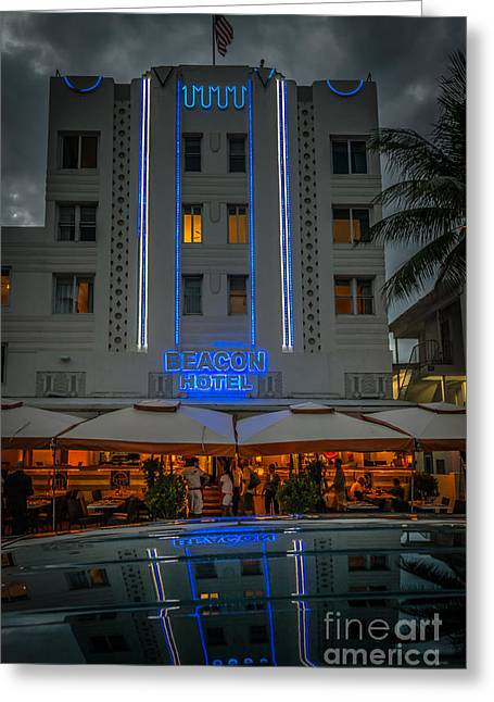 1930s Greeting Cards - Beacon Hotel Art Deco District SOBE MiamI Greeting Card by Ian Monk