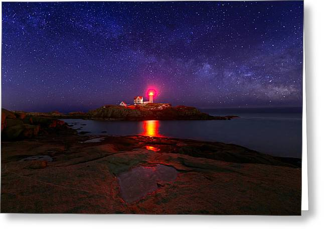 Cape Neddick Lighthouse Greeting Cards - Beacon in the Night Greeting Card by Michael Blanchette
