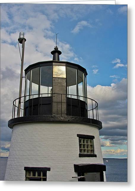 Beacon, Owl's Head Lighthouse, Owl's Greeting Card by Michel Hersen
