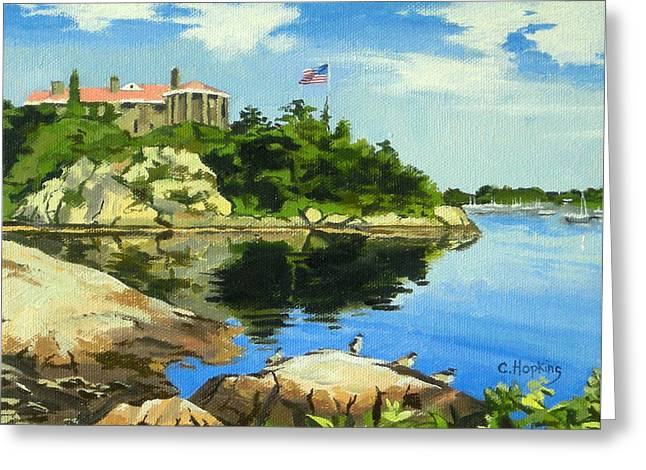 Hopkins Island Greeting Cards - Beacon Rock Brenton Cove Newport Rhode Island Greeting Card by Christine Hopkins
