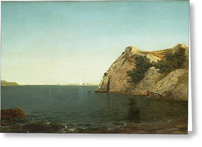 Frederick Greeting Cards - Beacon Rock Newport Harbour Greeting Card by John Frederick Kensett