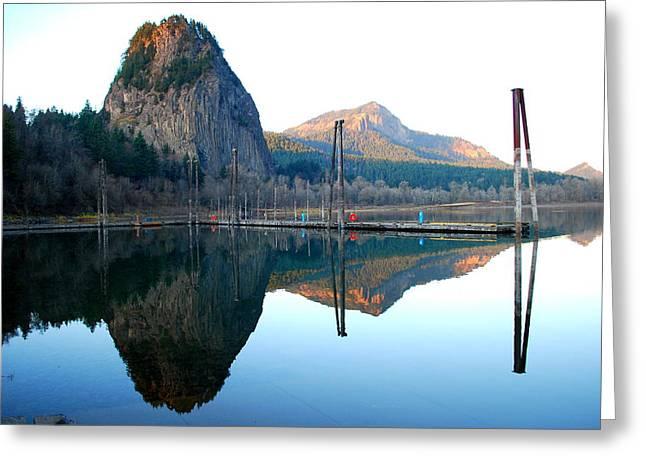 Beacon Rock Reflecions Greeting Card by Kathy Sampson