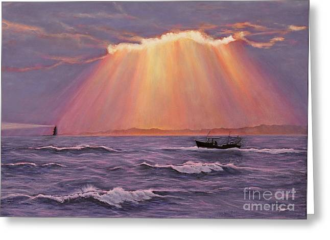 Sea Greeting Cards - Beacons Of Light Greeting Card by Cindy Lee Longhini