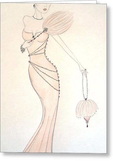 Art Nouveau Pastels Greeting Cards - Beaded Apricot Gown Greeting Card by Christine Corretti