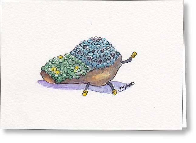 Beaded Pastels Greeting Cards - Beaded Bug Greeting Card by Julie Maas
