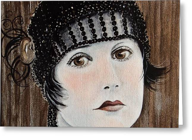 Liberation Greeting Cards - Beaded Flapper Hat Greeting Card by Barbara Chase