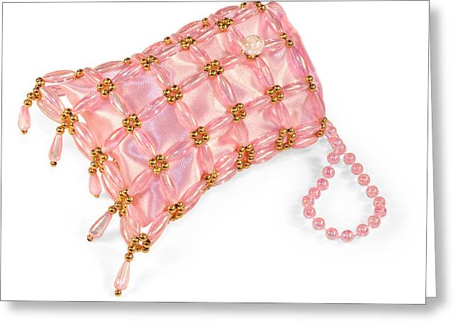 Evening Handbag Greeting Cards - Beaded satin purse Greeting Card by Jo Ann Snover