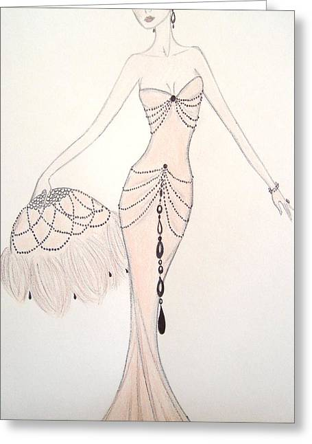 Belle Epoque Pastels Greeting Cards - Beaded String Gown Greeting Card by Christine Corretti
