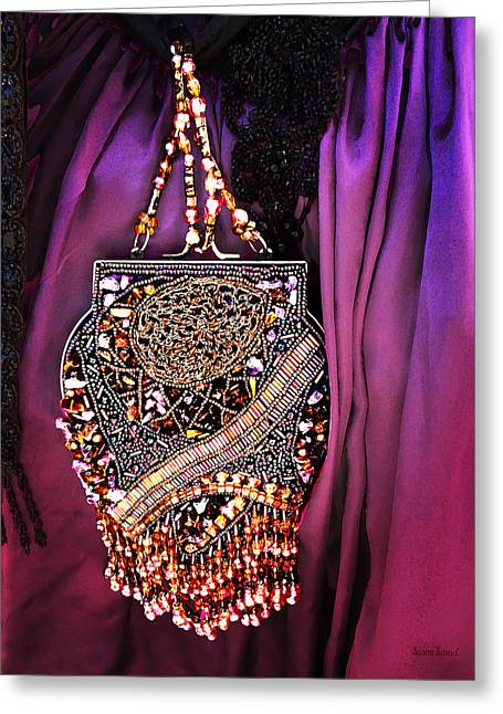 Steam Punk Greeting Cards - Beaded Victorian Purse Greeting Card by Susan Savad