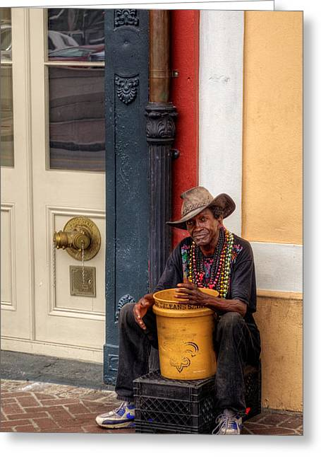 Street Performers Greeting Cards - Beads and Bucket in New Orleans Greeting Card by Greg Mimbs