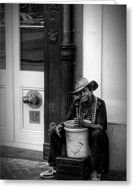 Street Performers Greeting Cards - Beads and Bucket in New Orleans in Black and White Greeting Card by Greg Mimbs
