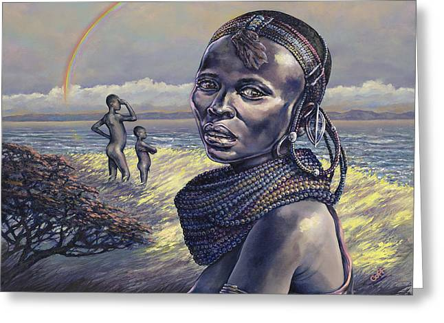 African Woman Greeting Cards - Beads Greeting Card by Dennis Goff