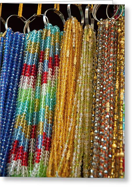 Beads For Sale, Pushkar, Rajasthan Greeting Card by Inger Hogstrom