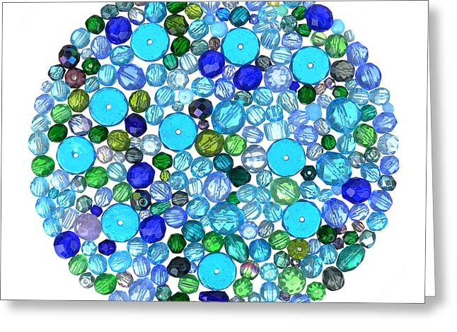 Blue Necklace Greeting Cards - Beads in Blues Greeting Card by Jim Hughes