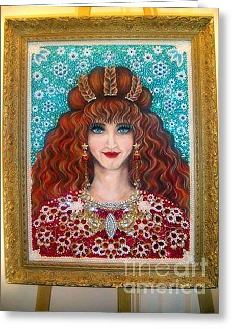Awesome Jewelry Greeting Cards - Beadwork art Sarah Goldberg my mom beauty Queen Greeting Card by Sofia Metal Queen