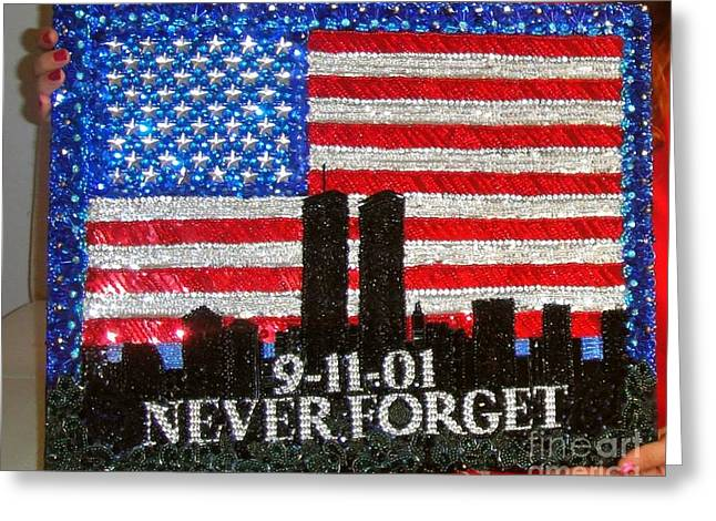 Handcrafted Jewelry Greeting Cards - USA flag New York 9.11.01 - Beadwork 9.11 - bead embroidery  Greeting Card by Sofia Metal Queen