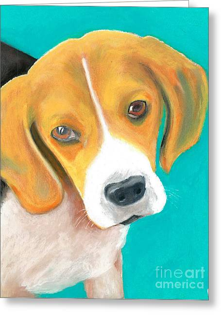 Hound Pastels Greeting Cards - Stanley Greeting Card by Aaron Koster
