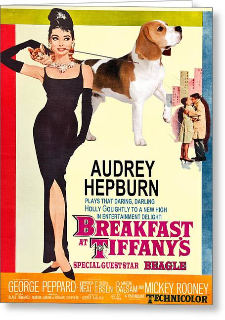Beagle Prints Greeting Cards - Beagle Art Canvas Print - Breakfast at Tiffany Movie Poster Greeting Card by Sandra Sij