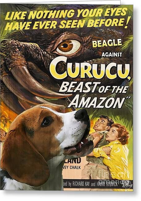 Beagle Prints Greeting Cards - Beagle Art Canvas Print - Curucu Movie Poster Greeting Card by Sandra Sij