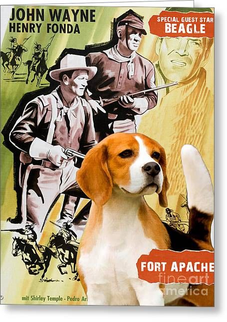 Beagle Prints Greeting Cards - Beagle Art Canvas Print - Fort Apache Movie Poster Greeting Card by Sandra Sij