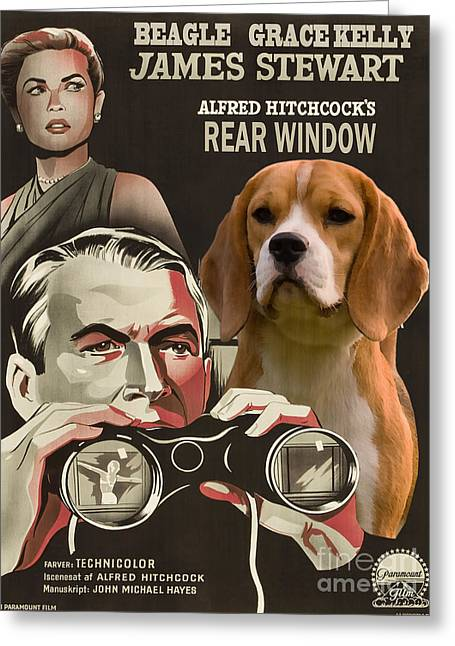 Beagle Prints Greeting Cards - Beagle Art Canvas Print - Rear Window Movie Poster Greeting Card by Sandra Sij