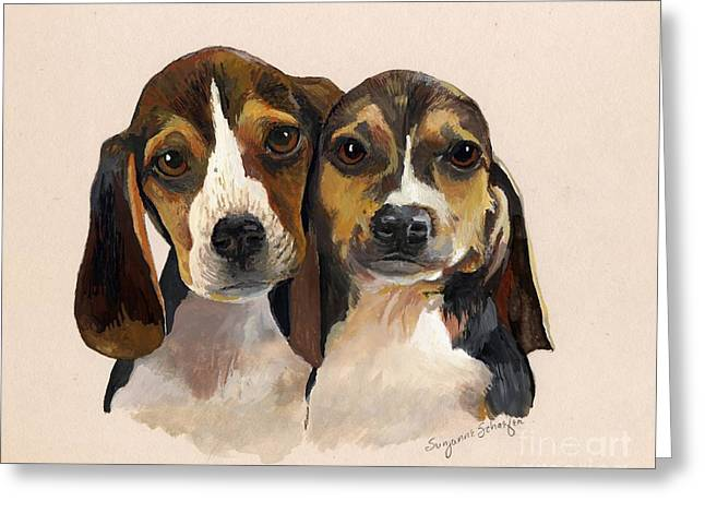 Beagle Babies Greeting Card by Suzanne Schaefer