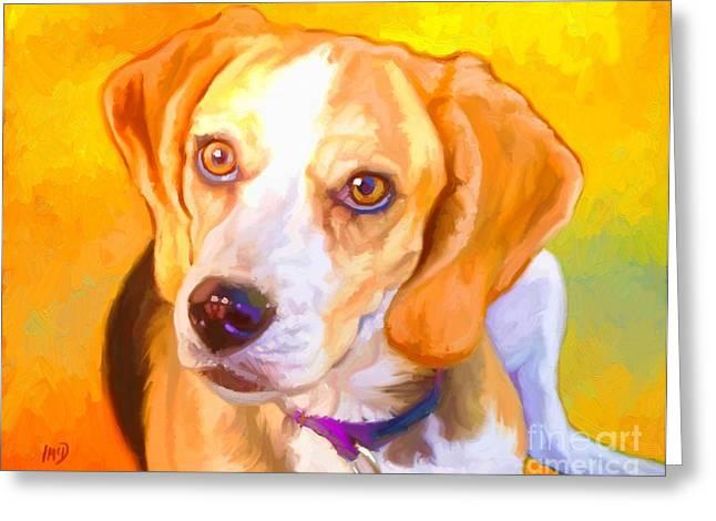 Buy Dog Prints Digital Greeting Cards - Beagle Dog Art Greeting Card by Iain McDonald