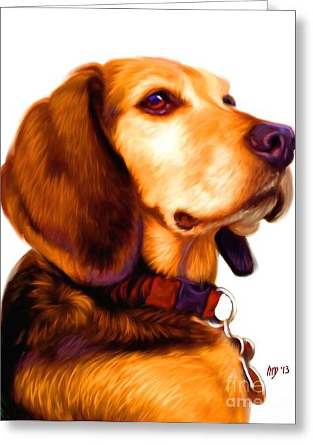 Beagle Puppies Print Greeting Cards - Beagle Dog Art Work Greeting Card by Iain McDonald