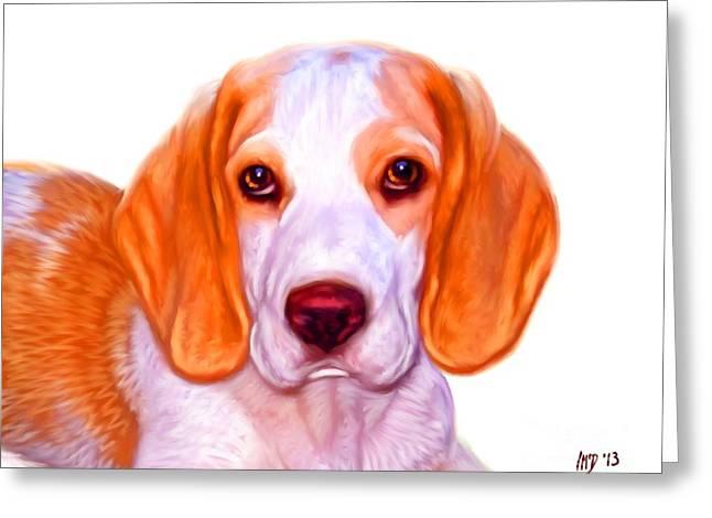 Buy Dog Prints Digital Greeting Cards - Beagle Dog on White Background Greeting Card by Iain McDonald