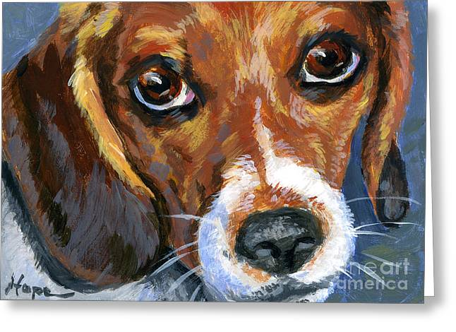 Beagle Prints Greeting Cards - Beagle Greeting Card by Hope Lane