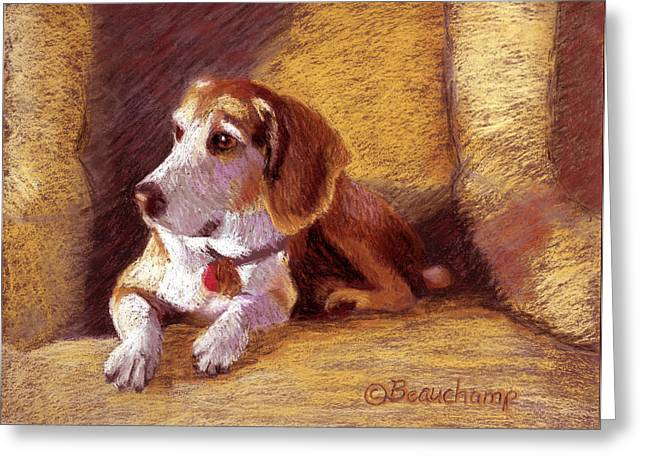 Loose Pastels Greeting Cards - Beagle Greeting Card by Nancy Beauchamp