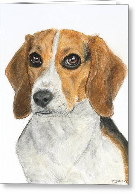 Canines Art Pastels Greeting Cards - Beagle Painting Greeting Card by Kate Sumners