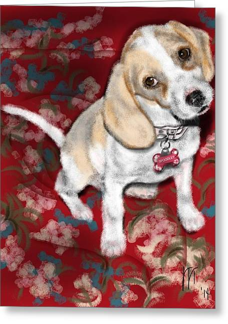 Dogs Digital Greeting Cards - Beagle Puppy Greeting Card by Lois Ivancin Tavaf