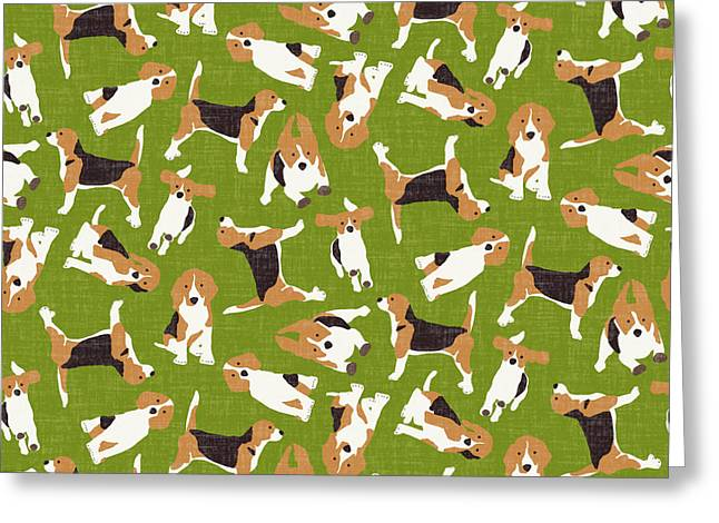 Beagle Scatter Green Greeting Card by Sharon Turner