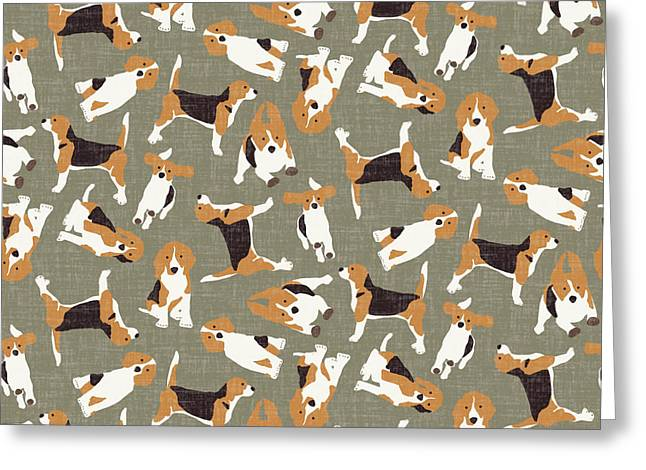 Beagle Scatter Stone Greeting Card by Sharon Turner