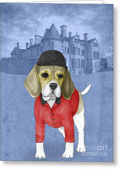 Beagle Prints Greeting Cards - Beagle with Beaulieu Palace Greeting Card by Barruf