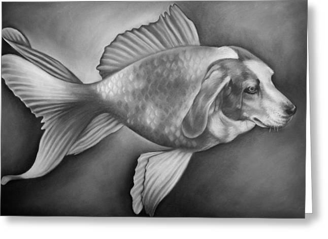 Decorative Fish Drawings Greeting Cards - Beaglefish Greeting Card by Courtney Kenny Porto