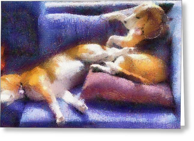 Purple Couch Greeting Cards - Beagles on the Couch Greeting Card by Natalia Corres