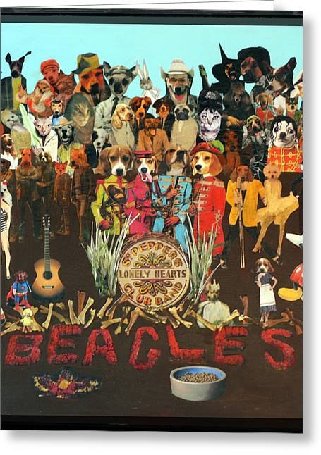 Sgt Pepper Mixed Media Greeting Cards - Beagles Greeting Card by Susie DeZarn
