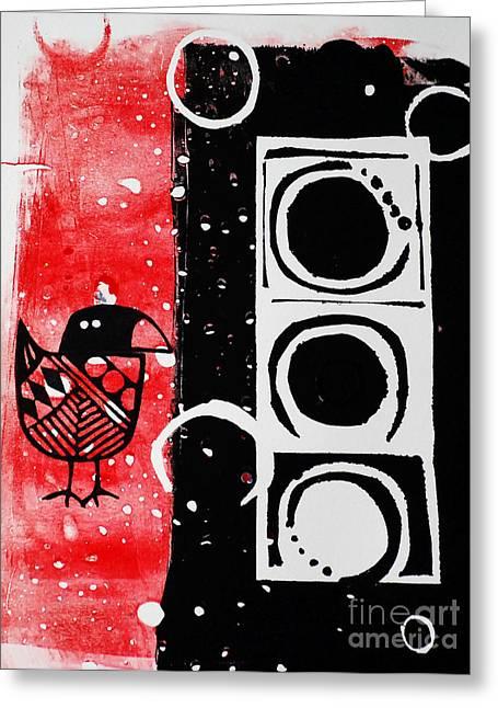 Linocut Paintings Greeting Cards - Beak in Red and Black Greeting Card by Cynthia Lagoudakis