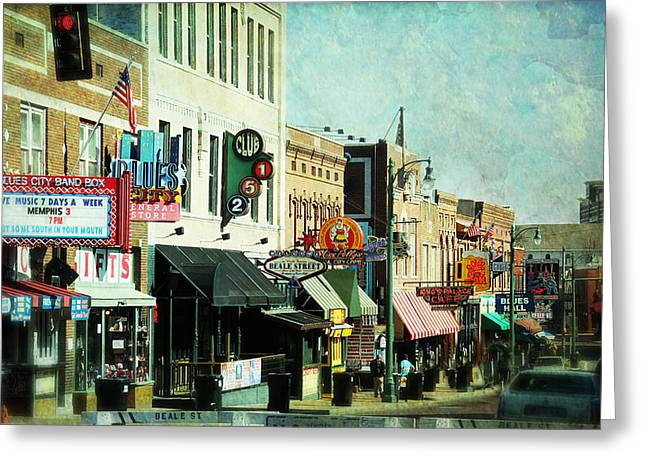 Tennessee Landmark Greeting Cards - Beale Street Blues Greeting Card by Suzanne Barber