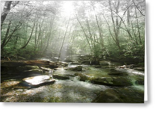 Green Cherokee Greeting Cards - Beam me up to Heaven Panorama  Greeting Card by Debra and Dave Vanderlaan
