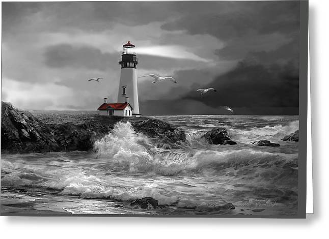 Pacific Ocean Prints Greeting Cards - Beam of Hope in Black and White Greeting Card by Gina Femrite
