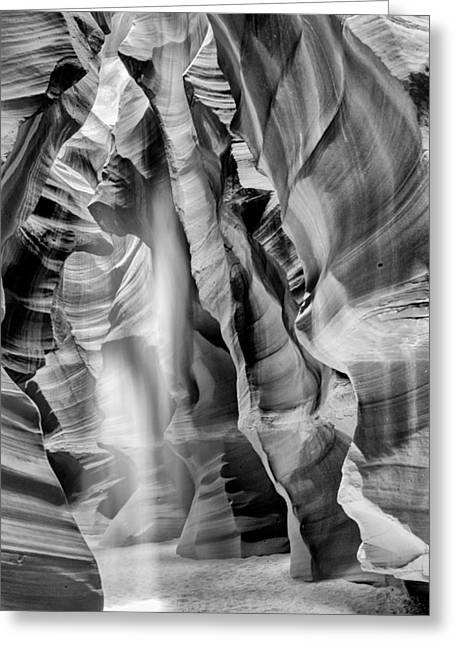 Passageways Greeting Cards - Beam of light in Upper Antelope Canyon in Black and White Greeting Card by Susan  Schmitz