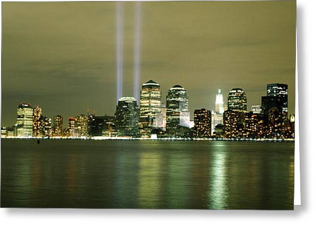9-11 Greeting Cards - Beams Of Light, New York, New York Greeting Card by Panoramic Images
