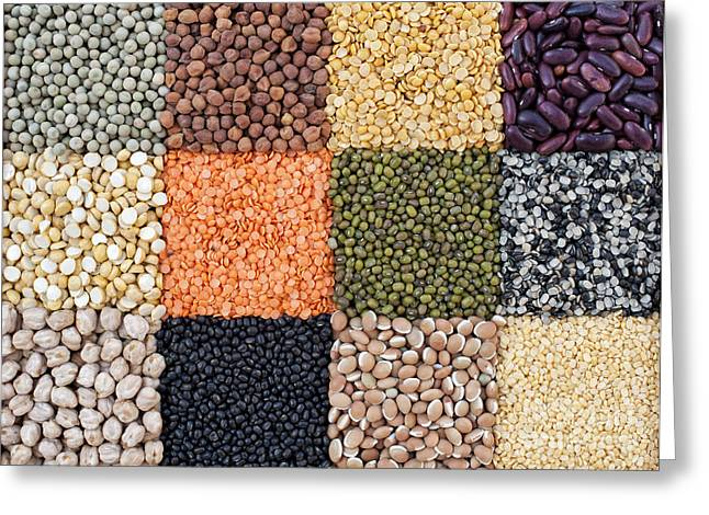 Gram Greeting Cards - Beans and Pulses Greeting Card by Tim Gainey