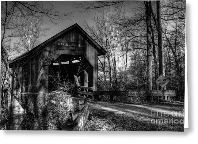 Rural Indiana Greeting Cards - Bean Blossom Bridge bw Greeting Card by Mel Steinhauer