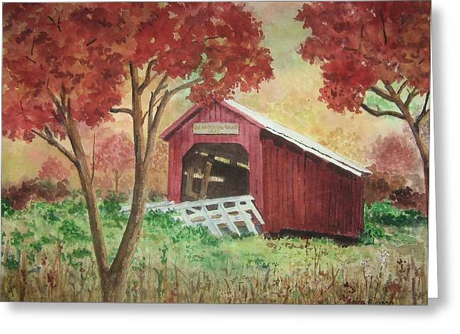 Bean Blossom Covered Bridge Greeting Card by Anita Riemen
